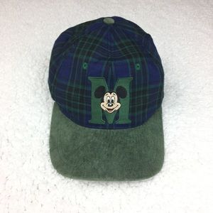 Vintage Disney Mickey Mouse Green Plaid Suede Hat